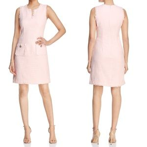 Karl Lagerfeld Paris Tonal Tweed Shift Dress Pink